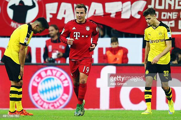 Mario Goetze of Muenchen celebrates his team's fifth goal during the Bundesliga match between FC Bayern Muenchen and Borussia Dortmund at Allianz...