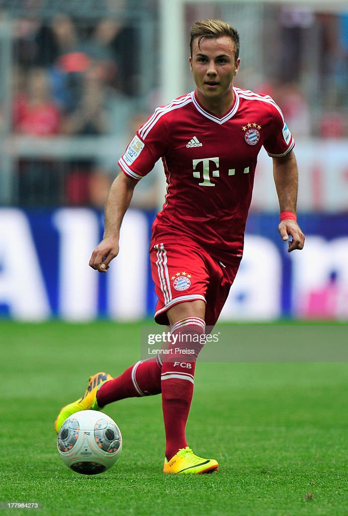 Mario Goetze of Muenchen in action during the Bundesliga match between FC Bayern Muenchen and 1. FC Nuernberg at Allianz Arena on August 24, 2013 in Munich, Germany.
