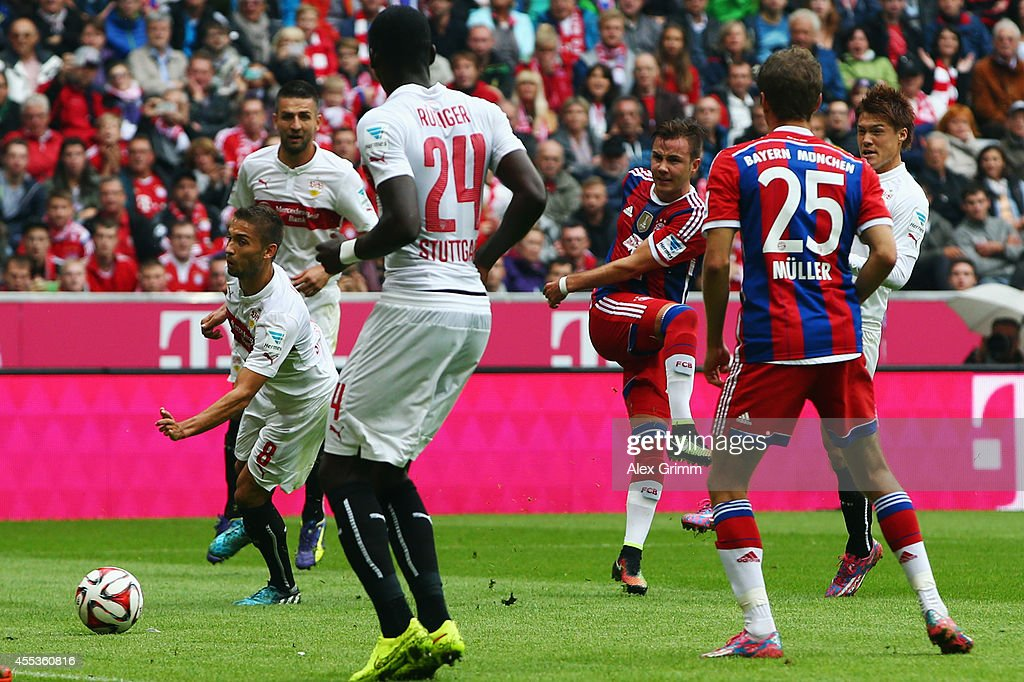 Mario Goetze of Muenchen scores his team's first goal during the Bundesliga match between FC Bayern Muenchen and VfB Stuttgart at Allianz Arena on...