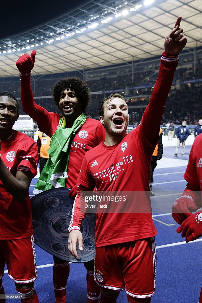 Mario Goetze of Munich celebrates after the Bundesliga match between and Hertha BSC and FC Bayern Muenchen at Olympiastadion on March 25, 2014 in Berlin, Germany.