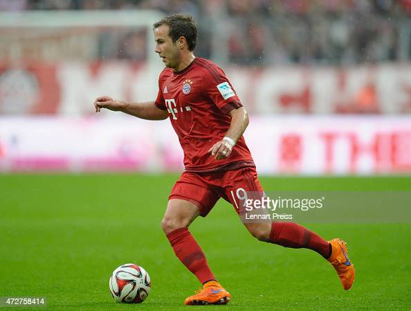 Mario Goetze of Munich in action during the Bundesliga match between FC Bayern Muenchen and FC Augsburg at Allianz Arena on May 9 2015 in Munich...