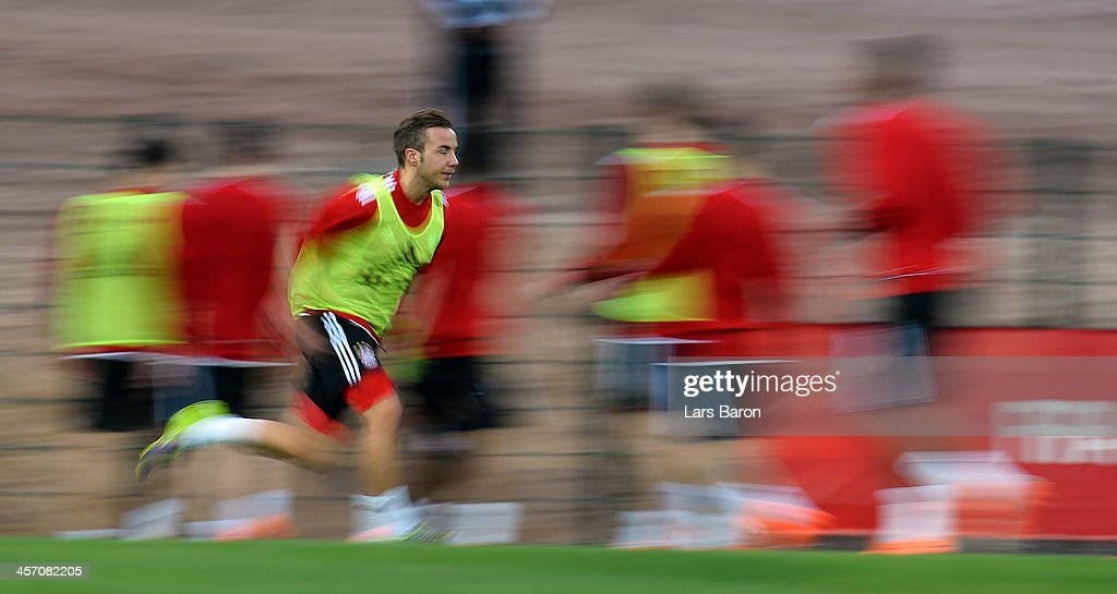 Mario Goetze sprints during a Bayern Muenchen training session for the FIFA Club World Cup next to Agadir Stadium on December 16, 2013 in Agadir, Morocco.