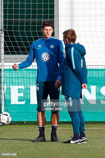 Mario Gomez and Andries Jonker attend Training of VfL Wolfsburg at Volkswagen Center on February 27 2017 in Wolfsburg Germany