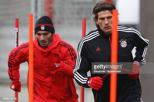 Mario Gomez and Hamit Altintop in action during the Bayern Muenchen training session at Bayern's training ground 'Saebener Strasse' on October 18...