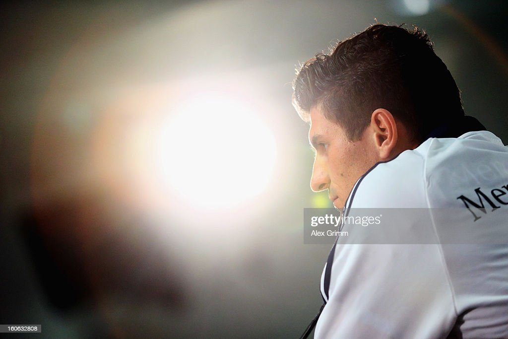 <a gi-track='captionPersonalityLinkClicked' href=/galleries/search?phrase=Mario+Gomez+-+Soccer+Player&family=editorial&specificpeople=635161 ng-click='$event.stopPropagation()'>Mario Gomez</a> attends a Germany press conference at Commerzbank-Arena on February 4, 2013 in Frankfurt am Main, Germany.