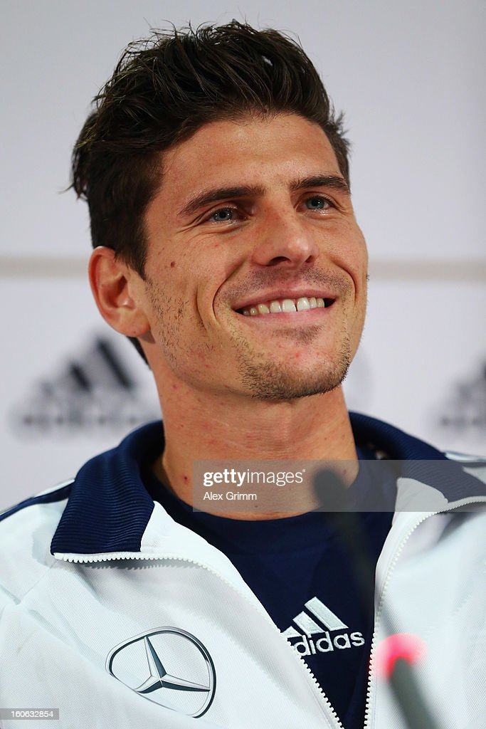 Mario Gomez attends a Germany press conference at Commerzbank-Arena on February 4, 2013 in Frankfurt am Main, Germany.