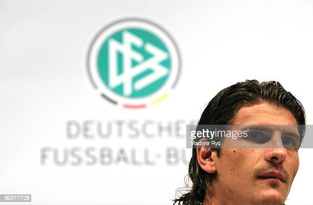 Mario Gomez attends the German Football National Team press conference at the Guerzenich Koeln on September 3 2009 in Cologne Germany