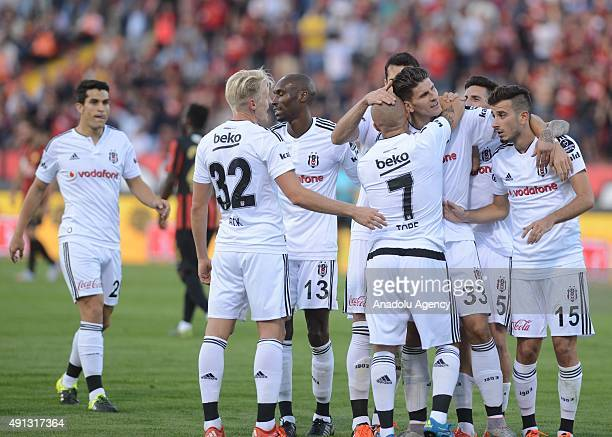 Mario Gomez Garcia of Besiktas celebrates with his teammates after scoring a goal during the Turkish Spor Toto Super League football match between...