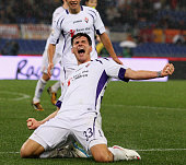 Mario Gomez of ACF Fiorentina celebrates after scoring the second team's goal during the TIM Cup match between AS Roma and ACF Fiorentina at Olimpico...