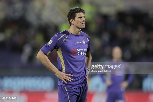Mario Gomez of ACF Fiorentina looks during the Serie A match between ACF Fiorentina and AS Roma at Stadio Artemio Franchi on January 25 2015 in...