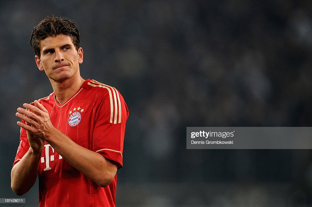 Mario Gomez of Bayern looks dejected after the Bundesliga match between Borussia Moenchengladbach and FC Bayern Muenchen at Borussia Park Stadium on January 20, 2012 in Moenchengladbach, Germany.
