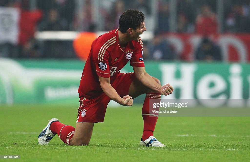 Mario Gomez of Bayern Muenchen celebrates his team's victory of the UEFA Champions League Group A match between FC Bayern Muenchen and SSC Napoli at Allianz Arena on November 2, 2011 in Munich, Germany.