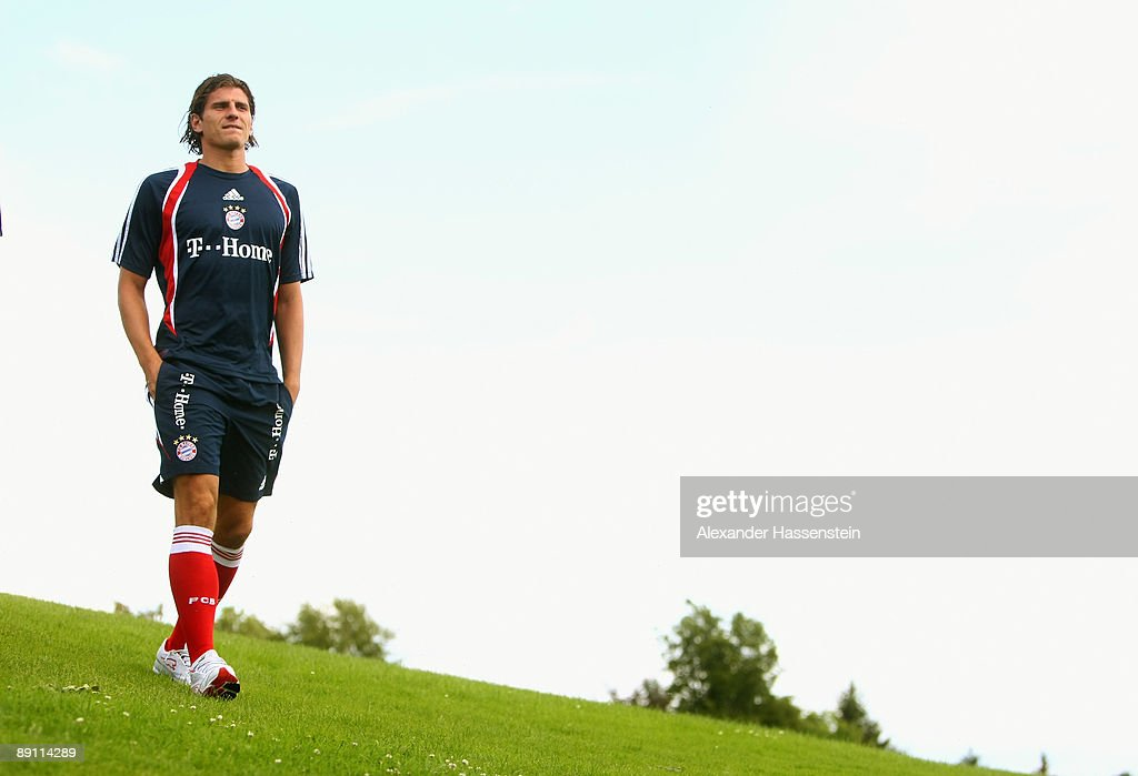 Mario Gomez of Bayern Muenchen on his way for a press conference at day three of the FC Bayern Muenchen training camp on July 20, 2009 in Donaueschingen, Germany.