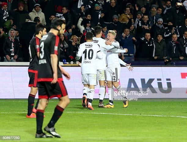 Mario Gomez of Besiktas celebrates with teammates after scoring a goal during Turkish Spor Toto Super Lig football match between Besiktas and...