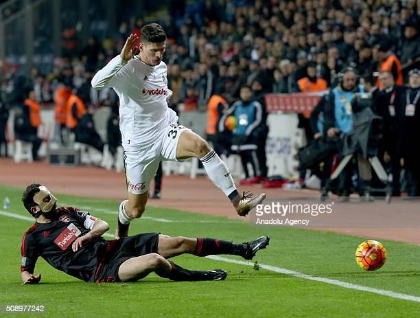 Mario Gomez of Besiktas in action against Abdullah Elyasa Sume of Gaziantep during Turkish Spor Toto Super Lig football match between Besiktas and...