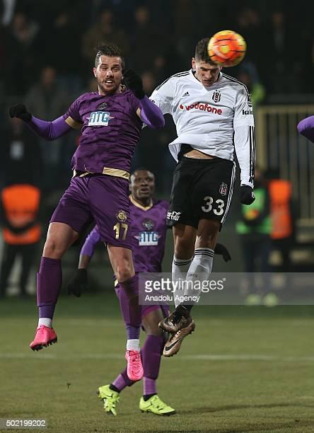 Mario Gomez of Besiktas in action against Ugur Demirok of Osmanlispor during the Turkish Spor Toto Super Lig match between Osmanlispor and Besiktas...