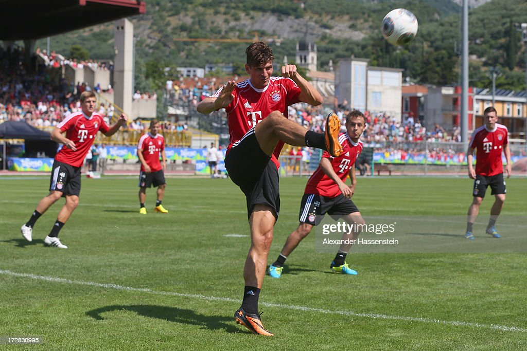 Mario Gomez of FC Bayern Muenchen plays the ball during a training session at Campo Sportivo on July 5, 2013 in Arco, Italy.
