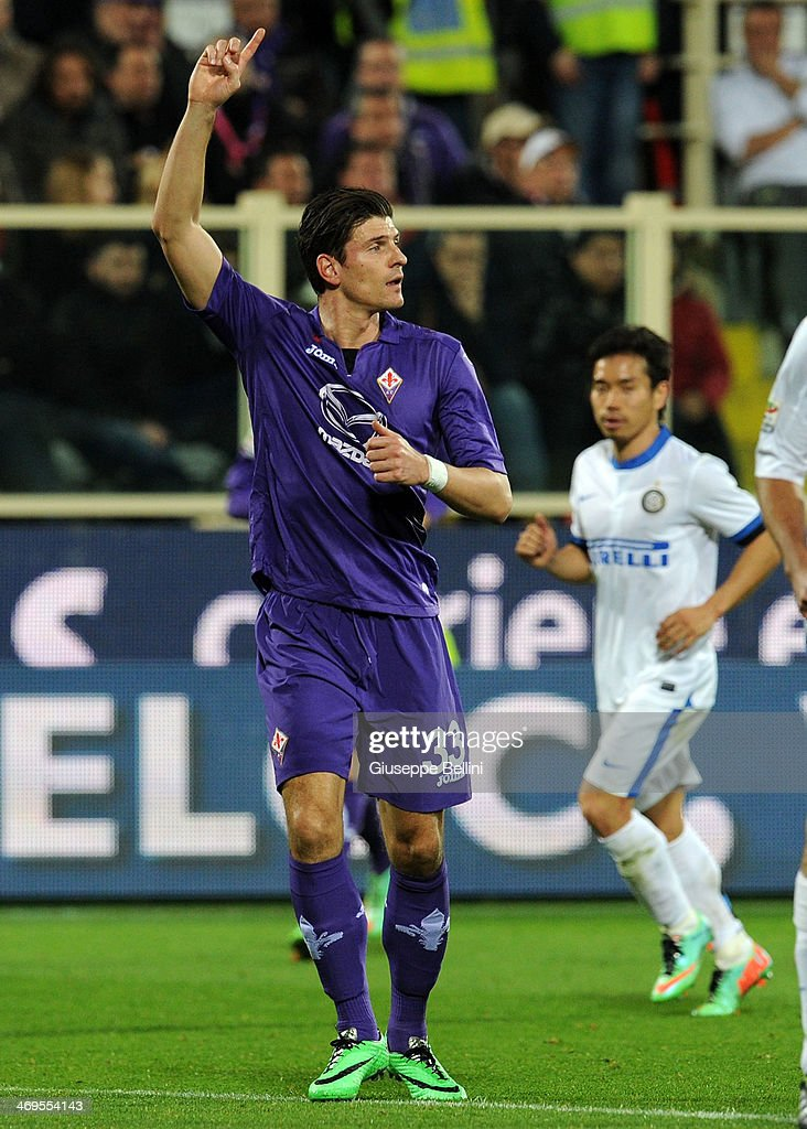 Mario Gomez of Fiorentina during the Serie A match between ACF Fiorentina and FC Internazionale Milano at Stadio Artemio Franchi on February 15, 2014 in Florence, Italy.