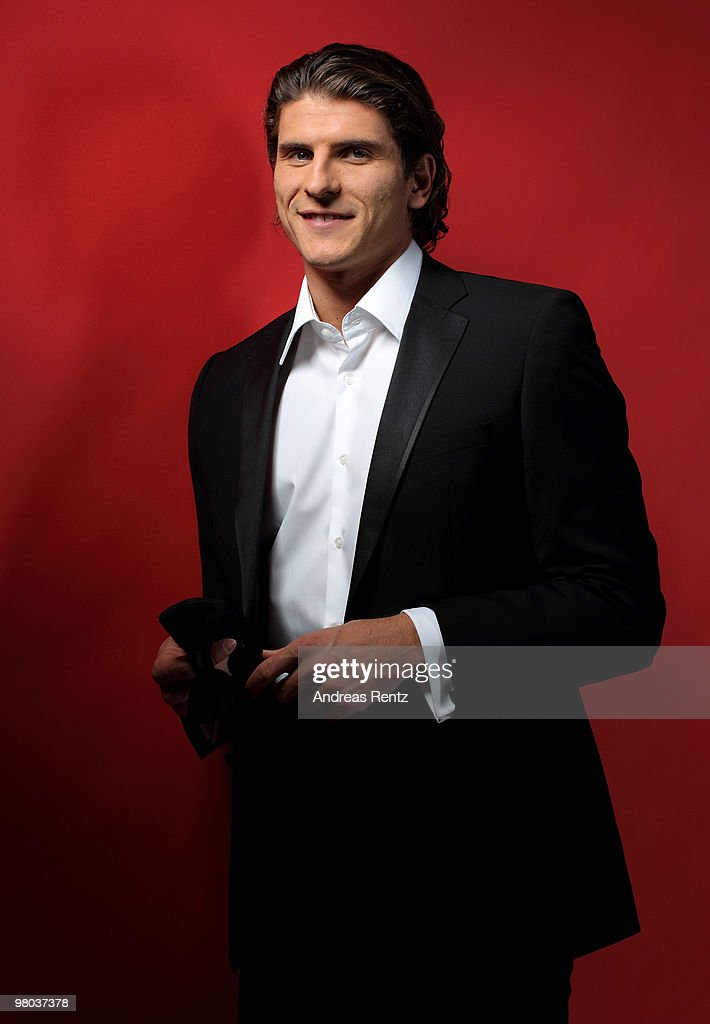 Mario Gomez of German Bundesliga football club FC Bayern Muenchen poses during a portrait session on March 16, 2010 in Munich, Germany.