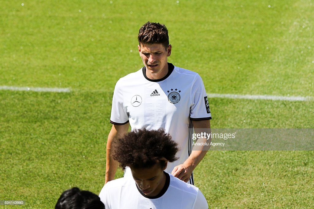 Mario Gomez of German National Football Team attends a training session at Lago Maggiore in Ascona, Switzerland on May 25, 2016. Germany's national soccer preparing for the upcoming UEFA EURO 2016 to be held in France in a training camp in Ascona, Switzerland, until 03 June.
