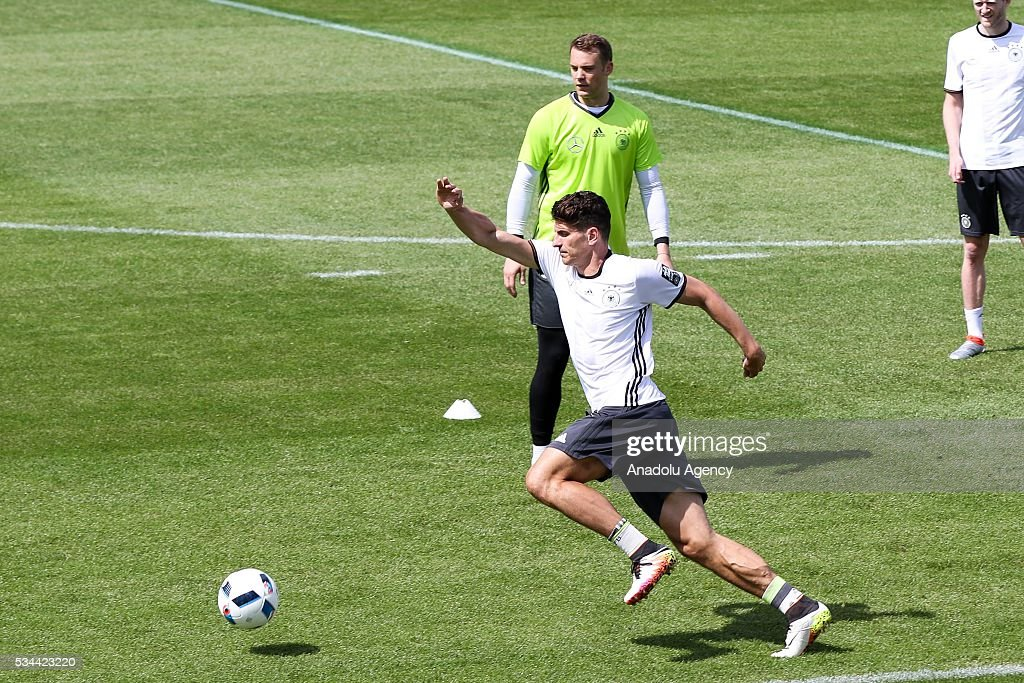 Mario Gomez of German National Football Team attends a training session at Lago Maggiore in Ascona, Switzerland on May 26, 2016. Germany's national soccer team prepares for the upcoming UEFA EURO 2016, to be held in France, in a training camp in Ascona.