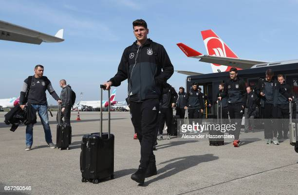 Mario Gomez of Germany and his teammates arrive at Duesseldorf Airport to depart for the FIFA 2018 World Cup Qualifier between Azerbaijan and Germany...