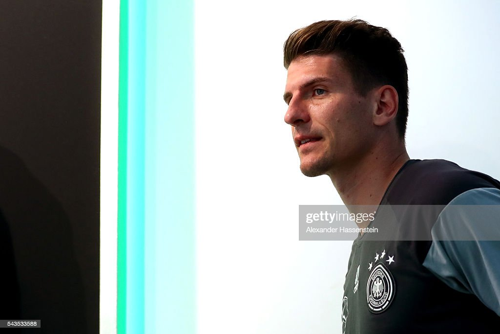 <a gi-track='captionPersonalityLinkClicked' href=/galleries/search?phrase=Mario+Gomez+-+Soccer+Player&family=editorial&specificpeople=635161 ng-click='$event.stopPropagation()'>Mario Gomez</a> of Germany arrives for a Germany press conference at Ermitage Evian on June 29, 2016 in Evian-les-Bains, France.