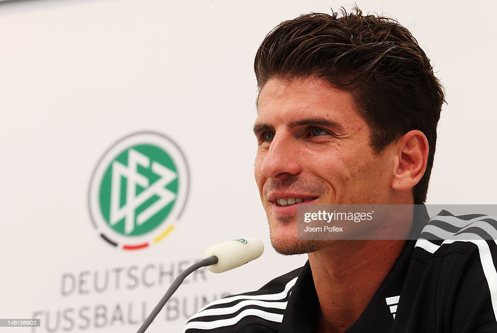 Mario Gomez of Germany attends a press conference ahead of their UEFA EURO 2012 Group B match against Netherlands, at the Germany press centre on June 11, 2012 in Gdansk, Poland.