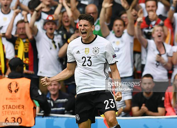 Mario Gomez of Germany celebrates after scoring during the UEFA EURO 2016 Group C match between Northern Ireland and Germany at Parc des Princes on...