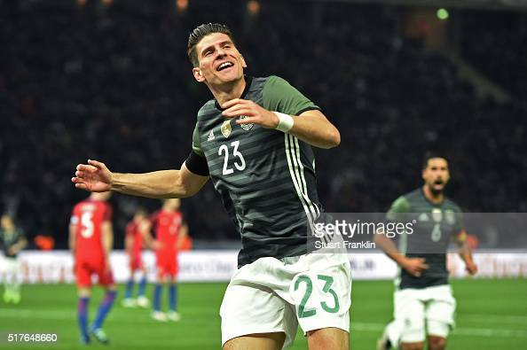 Mario Gomez of Germany celebrates scoring his team's second goal during the International Friendly match between Germany and England at...