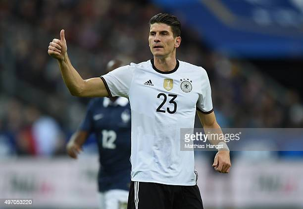 Mario Gomez of Germany gestures during the International Friendly match between France and Germany at the Stade de France on November 13 2015 in...