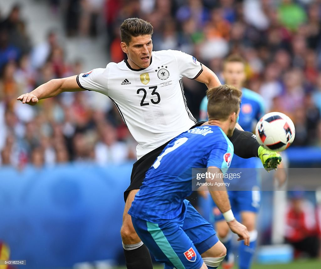 Mario Gomez (23) of Germany in action during the UEFA Euro 2016 round of 16 football match between Germany and Slovakia at Stade Pierre Mauroy in Lille, France on June 26, 2016.