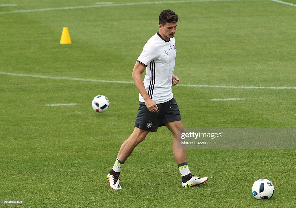 Mario Gomez of Germany kicks a ball during the German national team's pre-EURO 2016 training camp on May 28, 2016 in Ascona, Switzerland.
