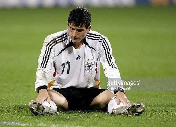 Mario Gomez of Germany looks disappointed during the Men's European U21 Championship qualifying second leg game between Germany and England at the...