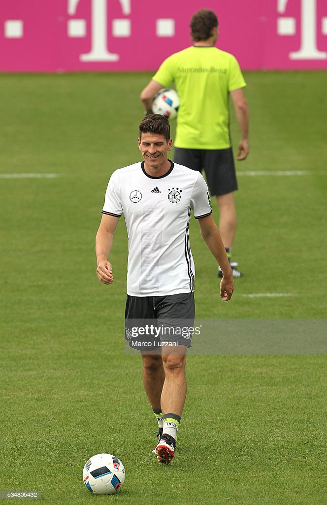 <a gi-track='captionPersonalityLinkClicked' href=/galleries/search?phrase=Mario+Gomez+-+Soccer+Player&family=editorial&specificpeople=635161 ng-click='$event.stopPropagation()'>Mario Gomez</a> of Germany looks on during the German national team's pre-EURO 2016 training camp on May 28, 2016 in Ascona, Switzerland.