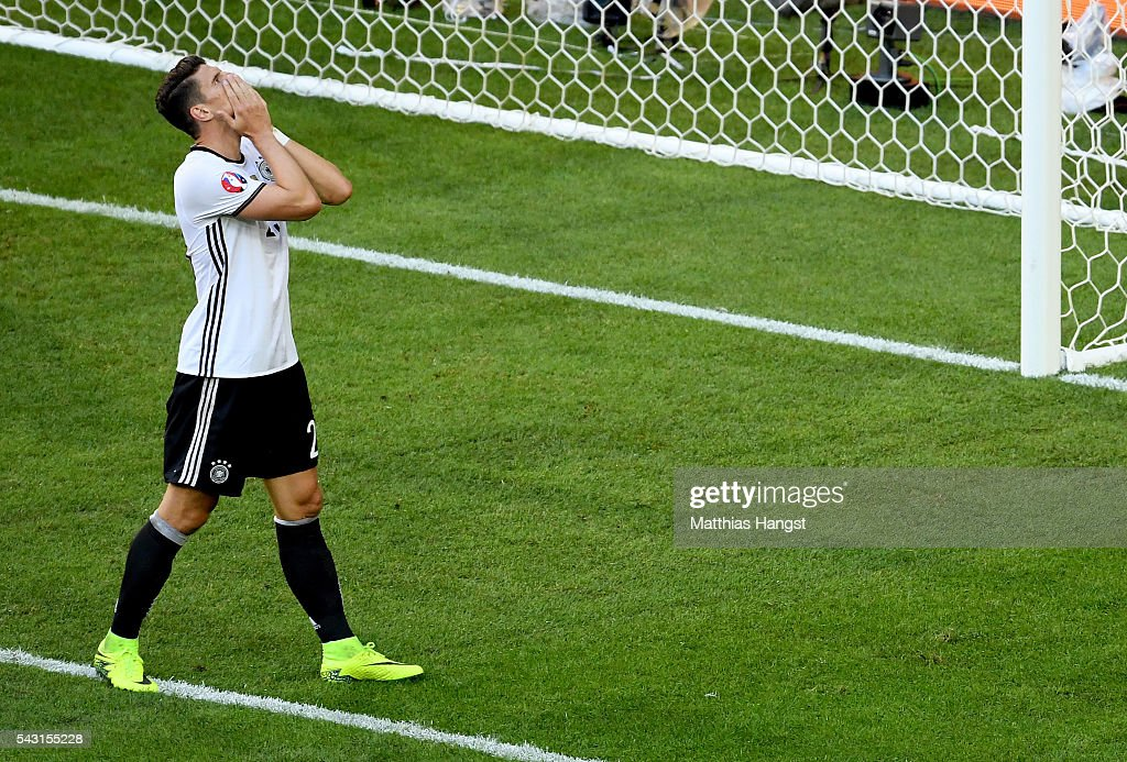 <a gi-track='captionPersonalityLinkClicked' href=/galleries/search?phrase=Mario+Gomez+-+Soccer+Player&family=editorial&specificpeople=635161 ng-click='$event.stopPropagation()'>Mario Gomez</a> of Germany reacts after missing a chance during the UEFA EURO 2016 round of 16 match between Germany and Slovakia at Stade Pierre-Mauroy on June 26, 2016 in Lille, France.
