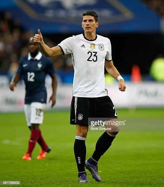 Mario Gomez of Germany reacts during the International Friendly match between France and Germany at the Stade de France on November 13 2015 in Paris...