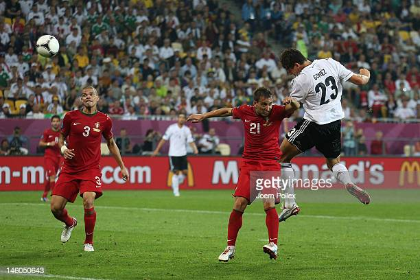 L'VIV UKRAINE JUNE 09 Mario Gomez of Germany scores their first goal during the UEFA EURO 2012 group B match between Germany and Portugal at Arena...