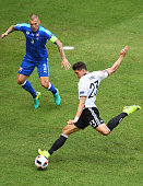 Mario Gomez of Germany shoots at goal during the UEFA EURO 2016 round of 16 match between Germany and Slovakia at Stade PierreMauroy on June 26 2016...