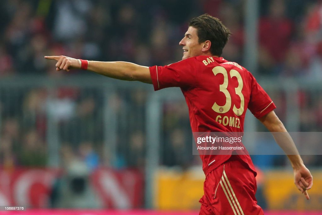 Mario Gomez of Muenchen celebrates scoring the 5th goal during the Bundesliga match between FC Bayern Muenchen and Hannover 96 at Allianz Arena on November 24, 2012 in Munich, Germany.