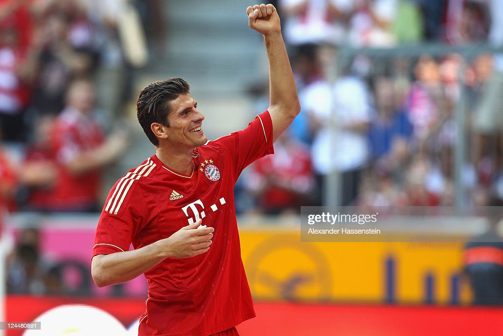 Mario Gomez of Muenchen celebrates scoring the 5th team goal during the Bundesliga match between FC Bayern Muenchen and SC Freiburg at Allianz Arena on September 10, 2011 in Munich, Germany.