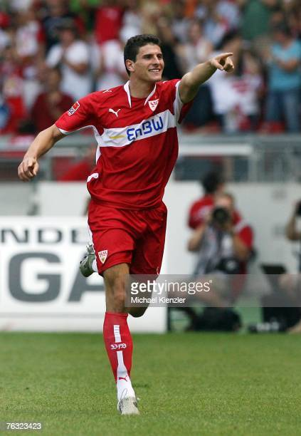 Mario Gomez of Stuttgart celebrates the first goal during the Bundesliga match between VfB Stuttgart and MSV Duisburg at the GottliebDaimler stadium...