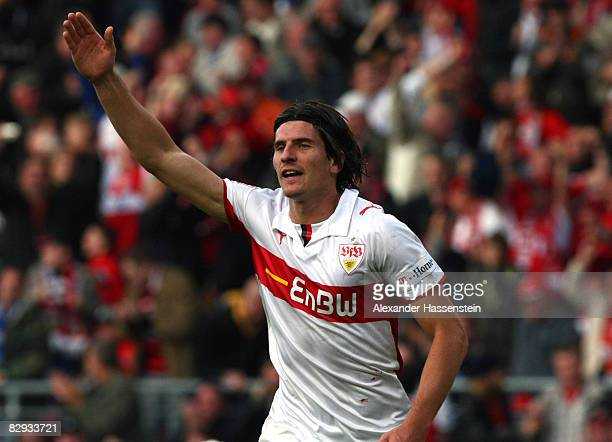 Mario Gomez of Stuttgart celebrates the first goal during the Bundesliga match between VfB Stuttgart and Karlsruher SC at the Mercedes Benz Stadium...