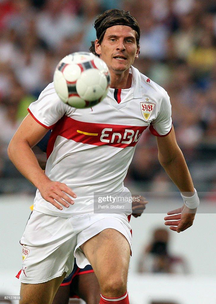 Mario Gomez of VfB Stuttgart plays the ball during a preseason friendly match agaisnt Arsenal London July 30 2008 in Stuttgart Germany