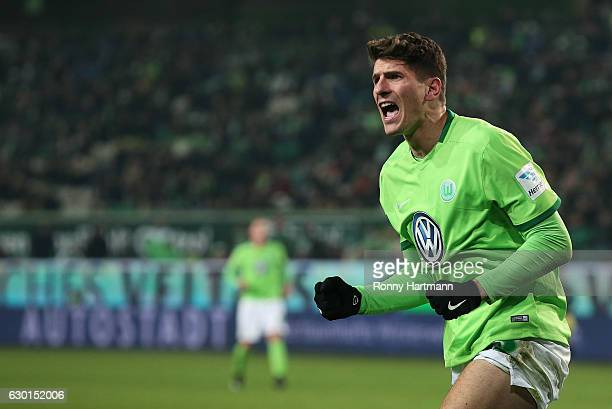 Mario Gomez of Wolfsburg reacts during the Bundesliga match between VfL Wolfsburg and Eintracht Frankfurt at Volkswagen Arena on December 17 2016 in...