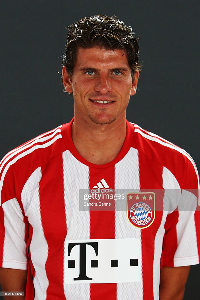 Mario Gomez poses during the FC Bayern Muenchen team presentation at Bayern's training ground Saebener Strasse on August 2, 2010 in Munich, Germany.