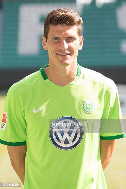 Mario Gomez poses during the official team presentation of VfL Wolfsburg at Volkswagen Arena on September 14 2016 in Wolfsburg Germany
