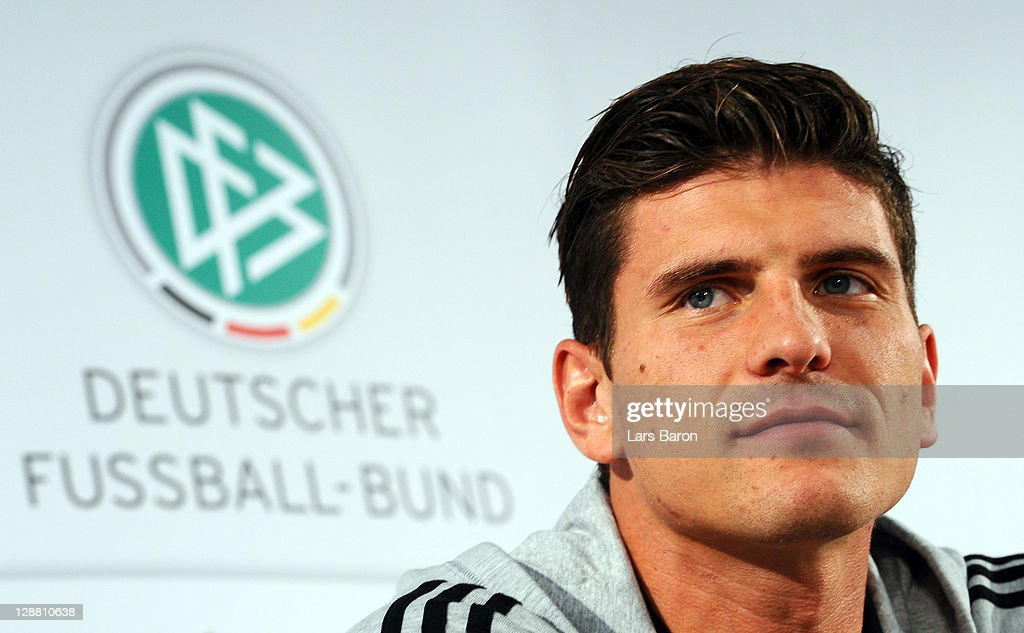 Mario Gomez smiles during a Germany press conference on October 10, 2011 in Duesseldorf, Germany.