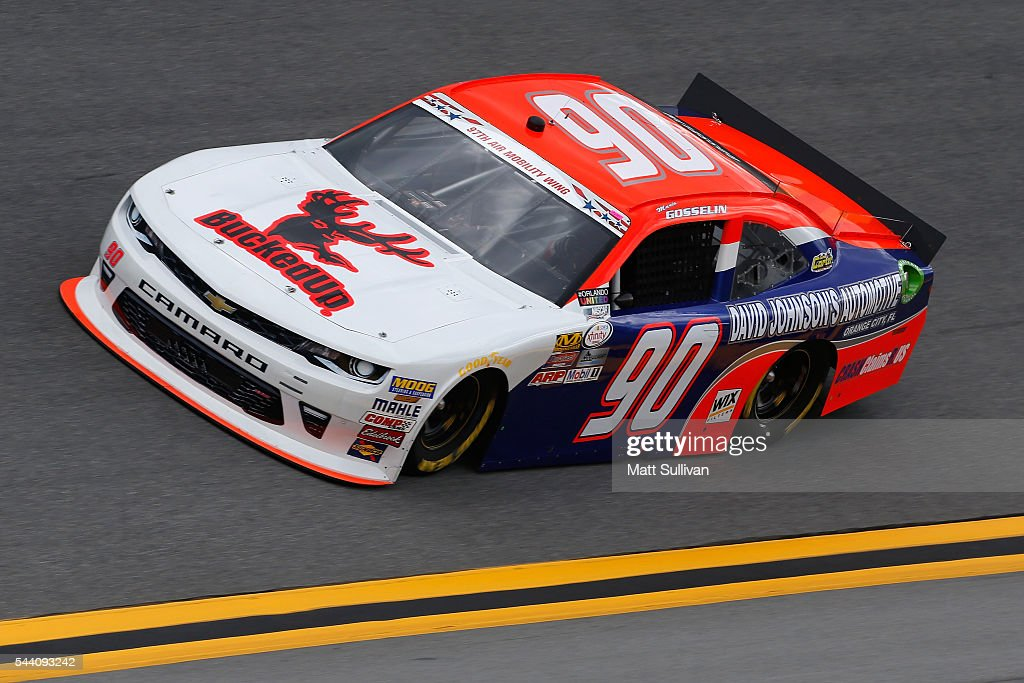 Mario Gosselin, driver of the #90 BuckedUp Apparel Chevrolet, races during qualifying for the NASCAR XFINITY Series Subway Firecracker 250 at Daytona International Speedway on July 1, 2016 in Daytona Beach, Florida.