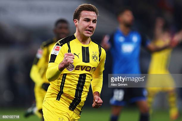 Mario Gotze of Borussia Dortmund celebrates scoring his teams first goal of the game during the Bundesliga match between TSG 1899 Hoffenheim and...